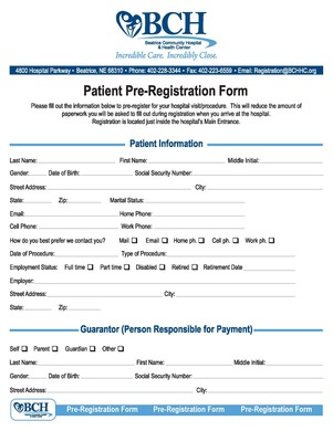 Hospital Pre-Registration Form