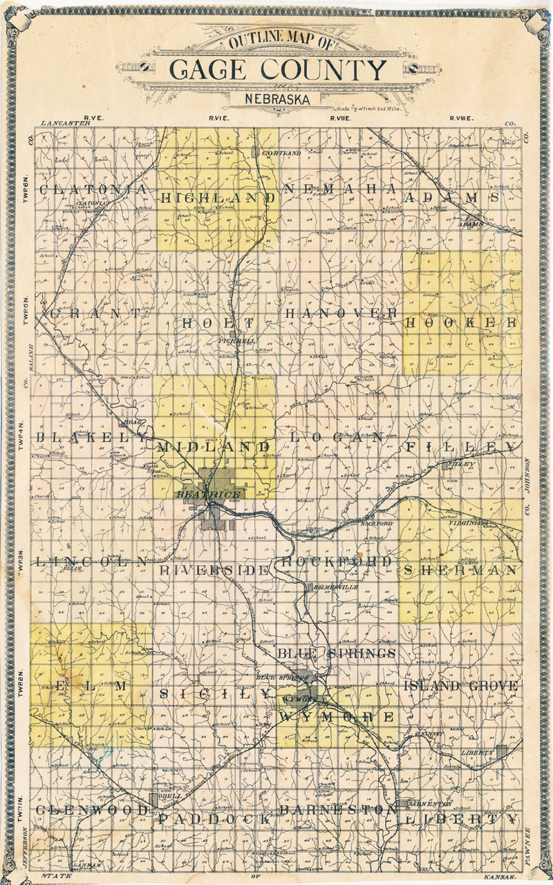 plat map of Gage County